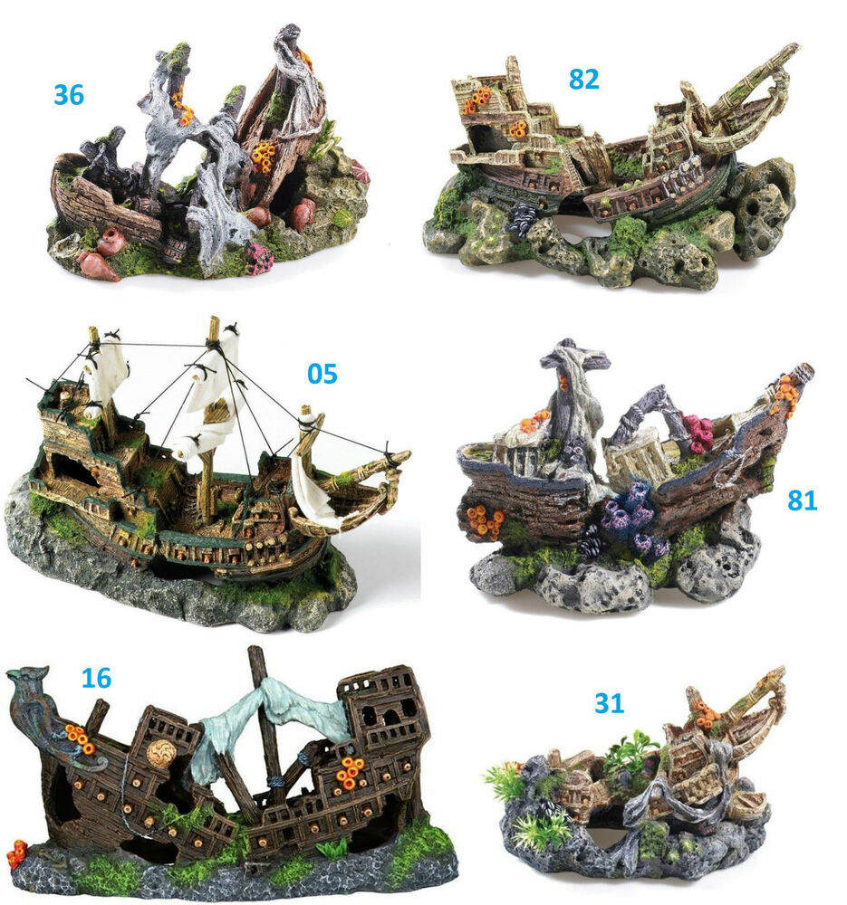 Aquarium shipwreck galleon fish cave ornament choice of 6 for Aquarium decoration shipwreck