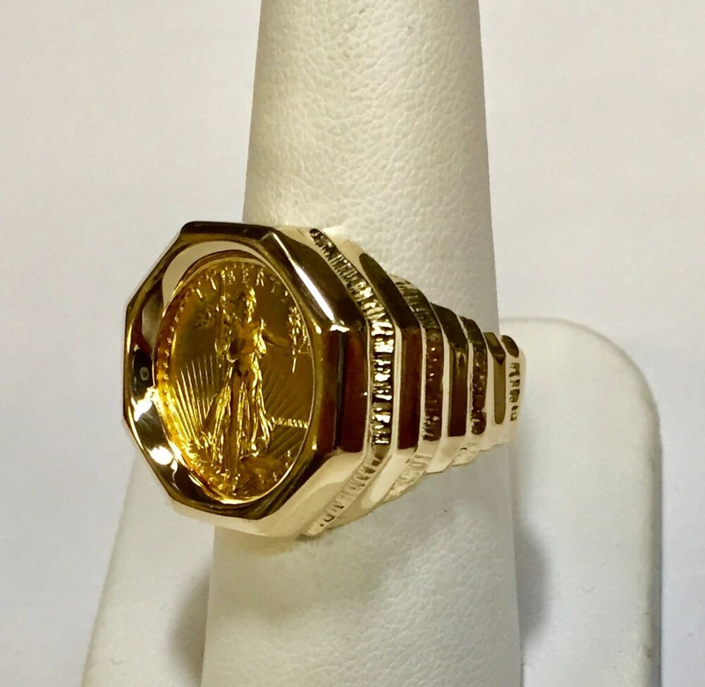 14k Gold Mens 21mm Coin Ring With A 22k 1 10 Oz American