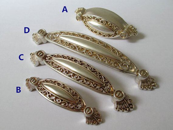 Silver Retro Dresser Pull Drawer Pulls Kitchen Cabinet Door Handles