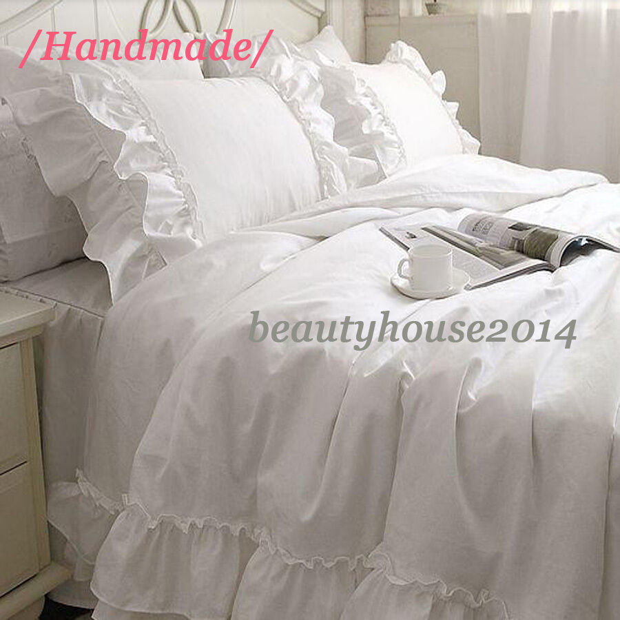 Fancy White Cotton Duvet Cover Bed Skirt Pillow Sham Sew