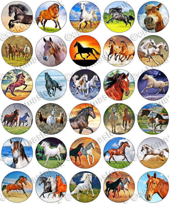 30 X Horses Fan Party Edible Rice Wafer Paper Cupcake Toppers Ebay