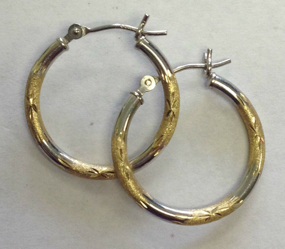 14k solid white yellow gold hoop earrings ebay. Black Bedroom Furniture Sets. Home Design Ideas