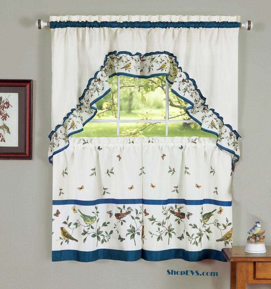 Love Birds Kitchen Curtain With Swag And Tier Set 36 In