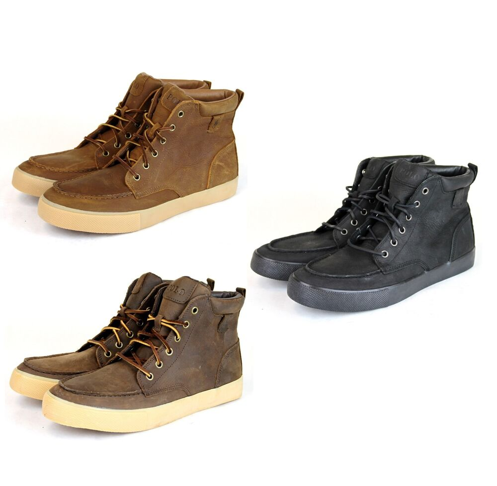 new authentic polo ralph lauren tedd leather high top sneaker w logo. Black Bedroom Furniture Sets. Home Design Ideas