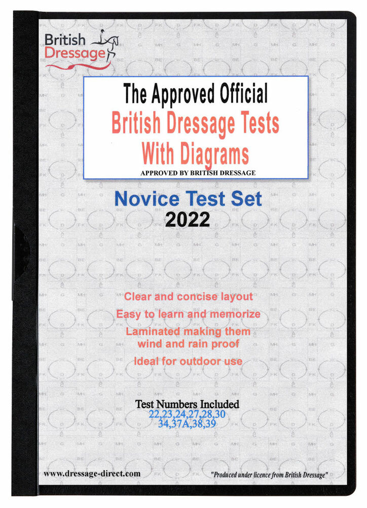 2019 ELEMENTARY Test Set Laminated British Dressage Tests with Diagrams