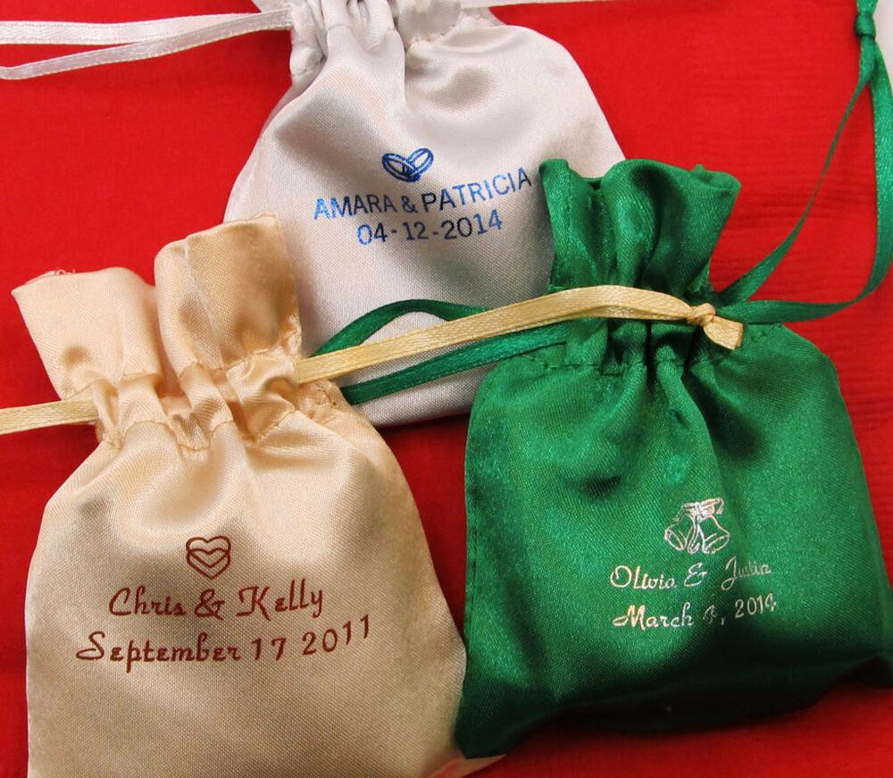 Personalized Wedding Gift Bags: 50 Personalized Satin Bags Wedding Favors Bridal Shower