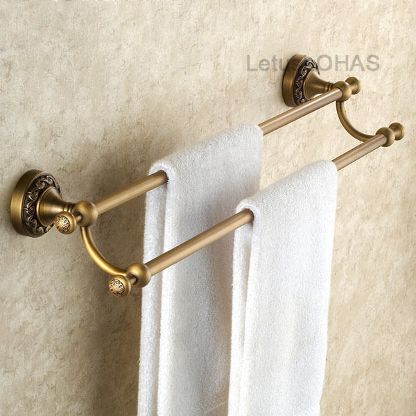 Wall Mount Antique Brass Art Carved Double Towel Bars Bathroom Towel Rack 15047 Ebay