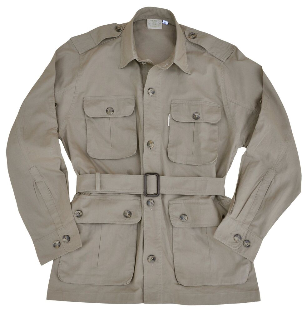 The appearance and texture of these men's safari jackets fulfill the needs of men. Choose the proper color, clothing size, and material from the listed items shown here to find the one for you. You can consider new or previously owned safari jackets and get more for less.