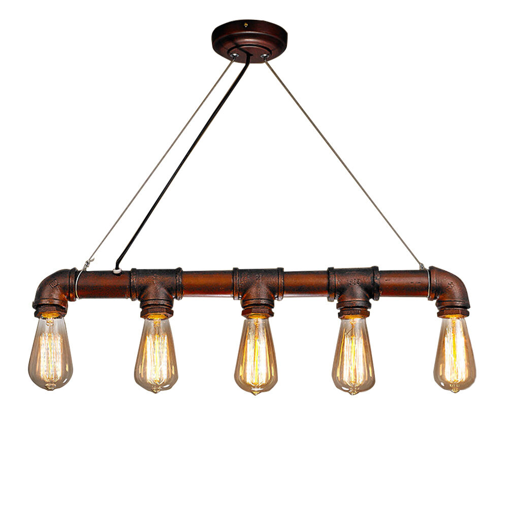 Industrial Water PIPE Iron Art Edison Bulb Ceiling Bar