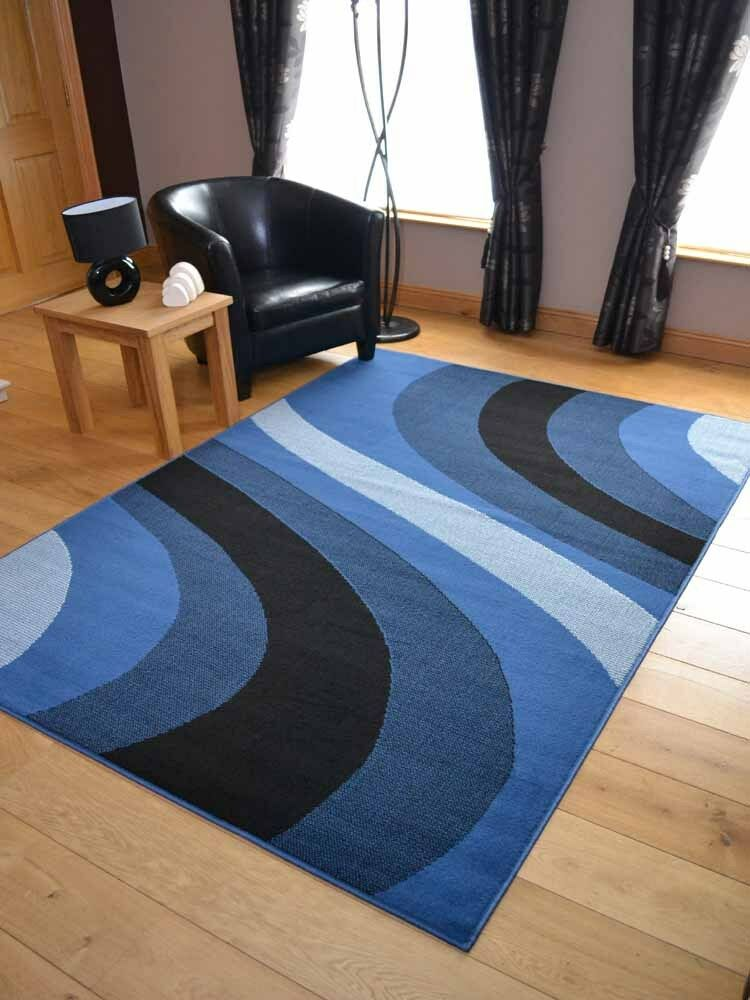 New Modern Denim Blue Wave Floor Runners Small Extra Large