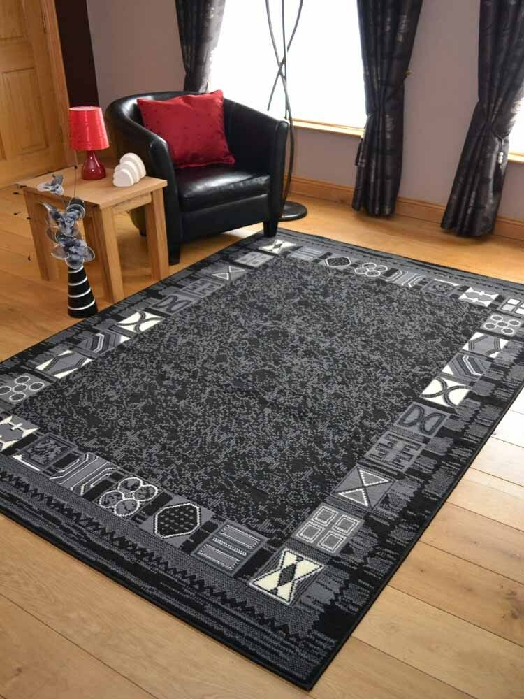 Black Grey Border Design Hall Runners Small Extra Large
