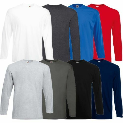 Men 39 s fruit of the loom long sleeve t shirt plain tee for Fruits of the loom t shirts