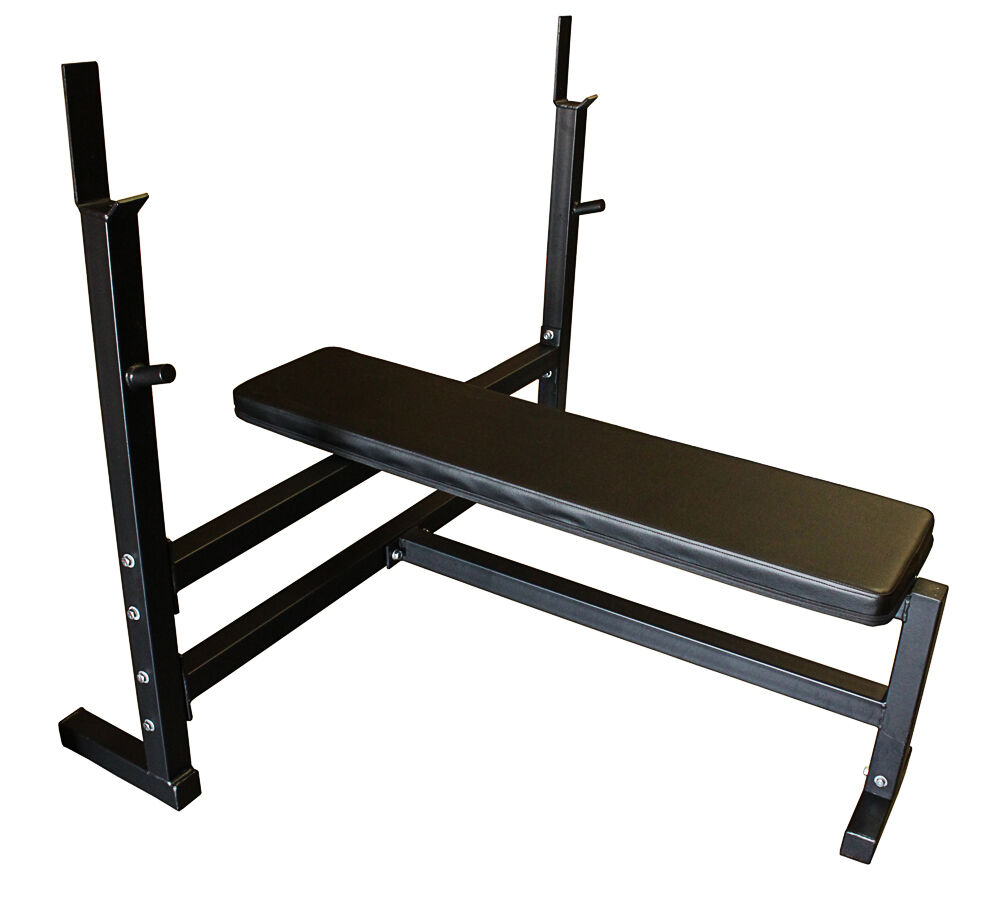 Olympic flat weight bench with 300lb olympic weight set ebay Bench weights