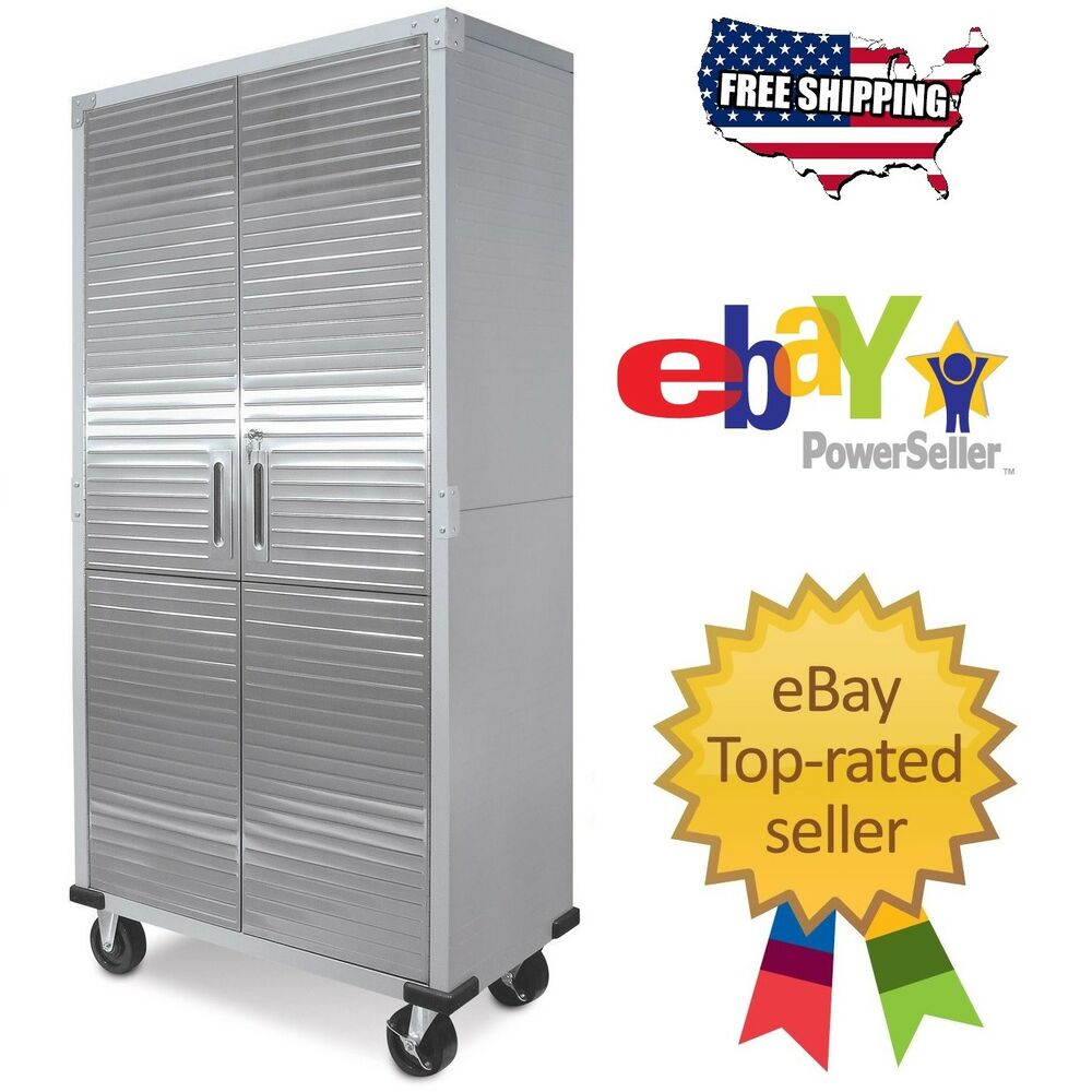 Garage Steel Rolling Tool File Storage Cabinet Shelving Stainless Steel  Doors | EBay