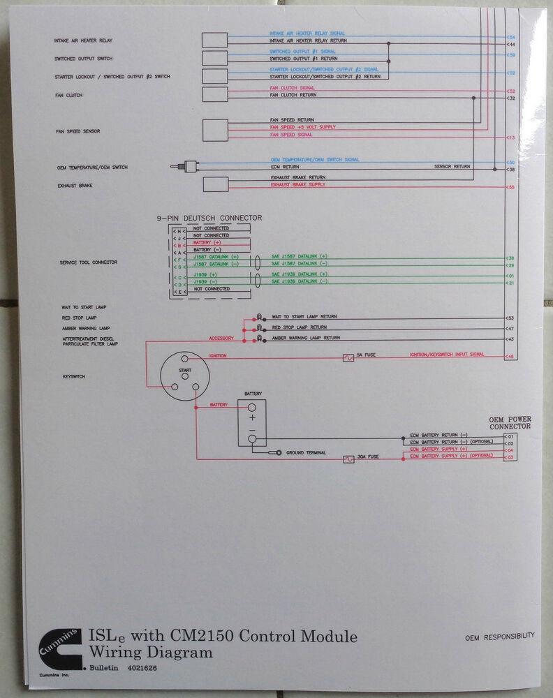 Cummins Laminated ISLe with CM2150 Control Module    Wiring       Diagram      eBay