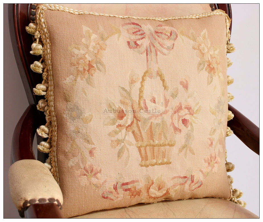 MUTED PASTEL Beige Pink Aubusson Cottage Pillow Shabby French Chic Rose Cushion eBay