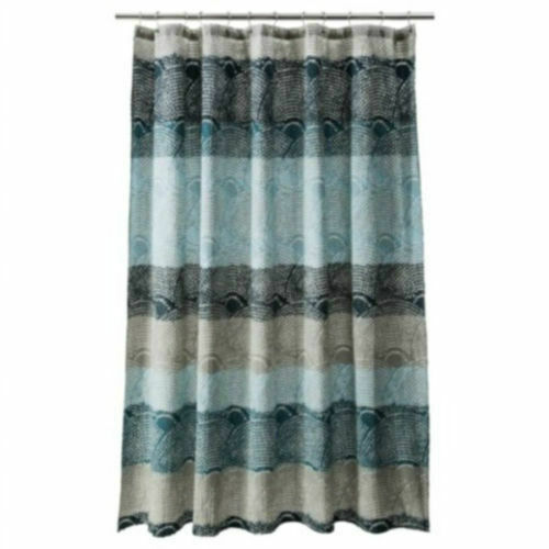 Threshold Cool Blue Scallop Shower Curtain Blue Gray EBay