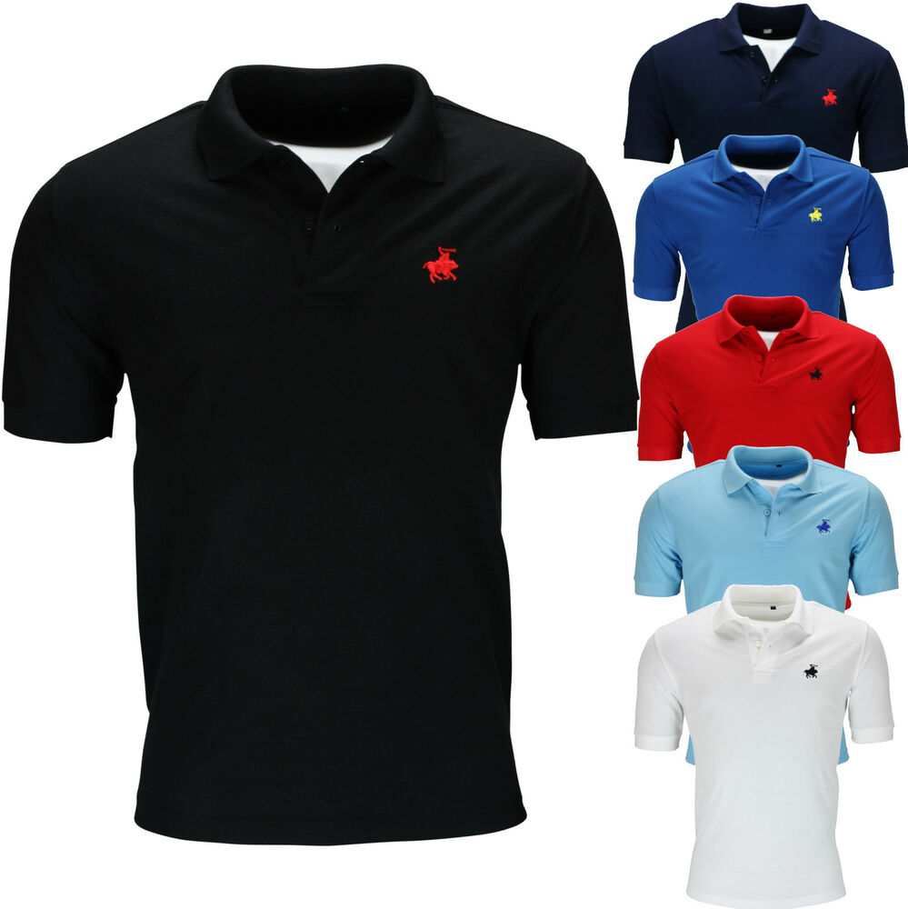 New Mens Polo Shirt Short Sleeve Plain Top Designer Style
