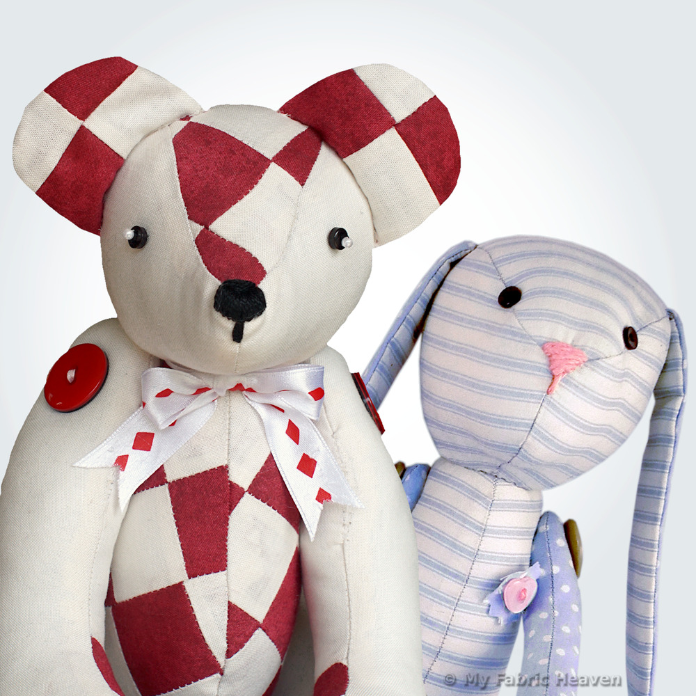 Soft Toy Sewing PATTERNS & Easy Instructions Bunny Rabbit / Teddy ...