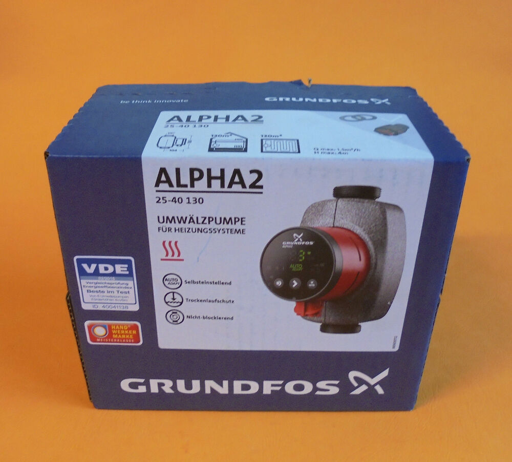 grundfos alpha2 n pumpe umw lzpumpe heizungspumpe 25 40 bl 130 ebay. Black Bedroom Furniture Sets. Home Design Ideas
