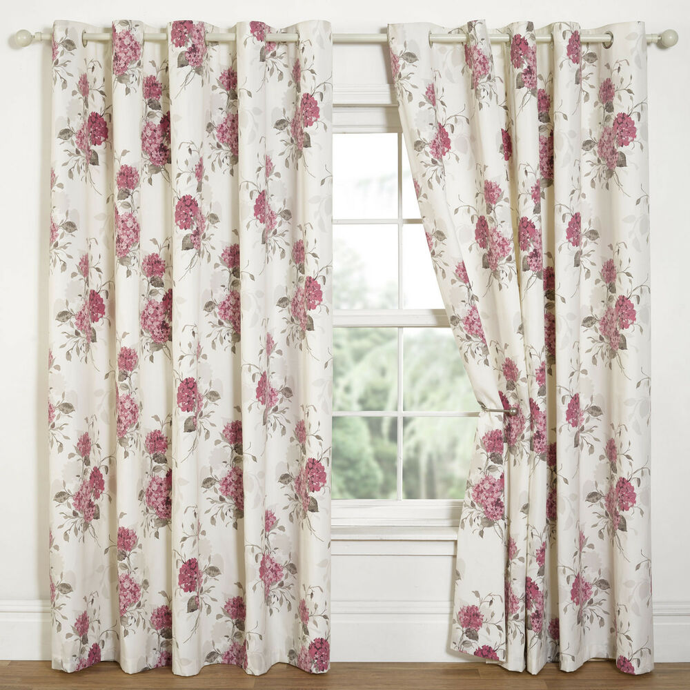 Hydrangea Floral Print Eyelet Lined Curtains Natural