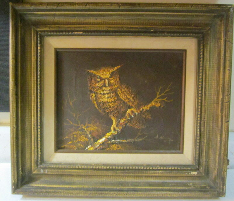 vintage original owl oil painting by h king signed w