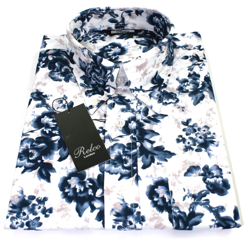 Relco mens white blue floral long sleeved shirt mod skin for Mens white floral shirt