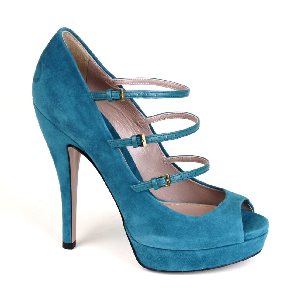 795 new authentic gucci suede high heel platform pump teal 309983 4408 ebay. Black Bedroom Furniture Sets. Home Design Ideas