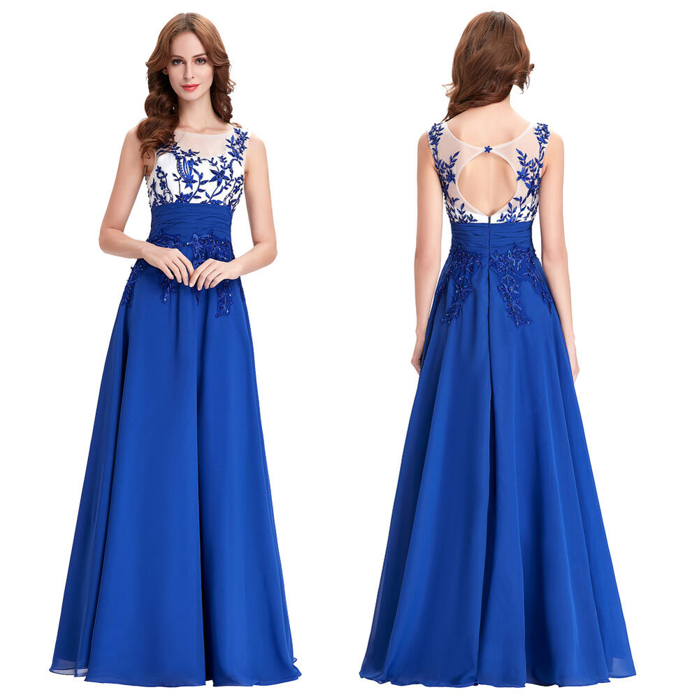 Long chiffon wedding evening dresses party ball gown prom for Ebay wedding bridesmaid dresses