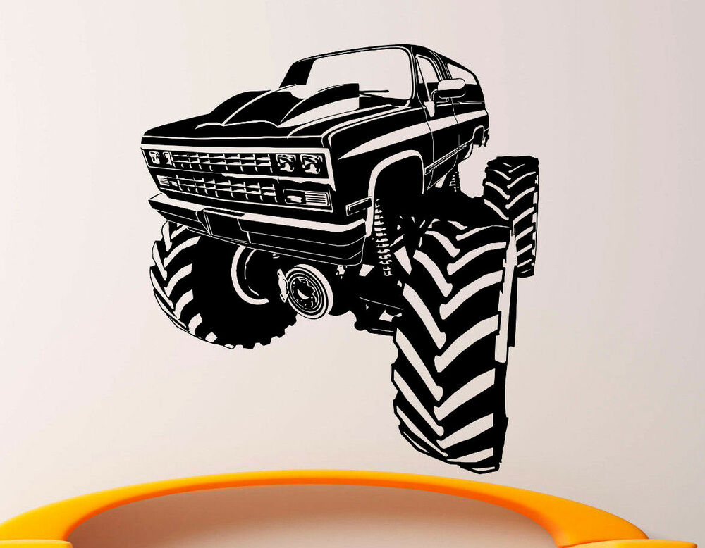 monster truck wall decal vinyl sticker big monster car interior art decor 1bmc ebay. Black Bedroom Furniture Sets. Home Design Ideas