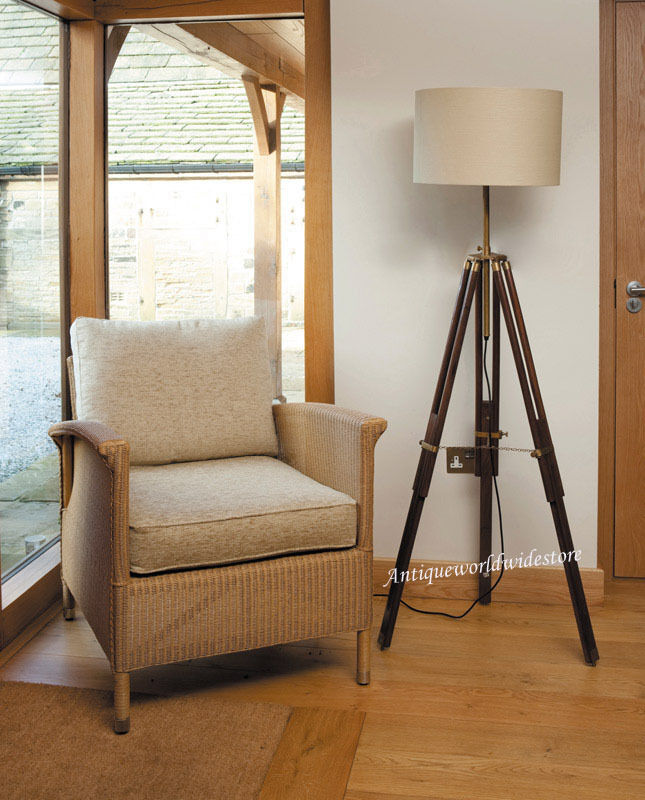 Antique Rustic Wooden Tripod Floor Lamp Stand Fully Brass ...