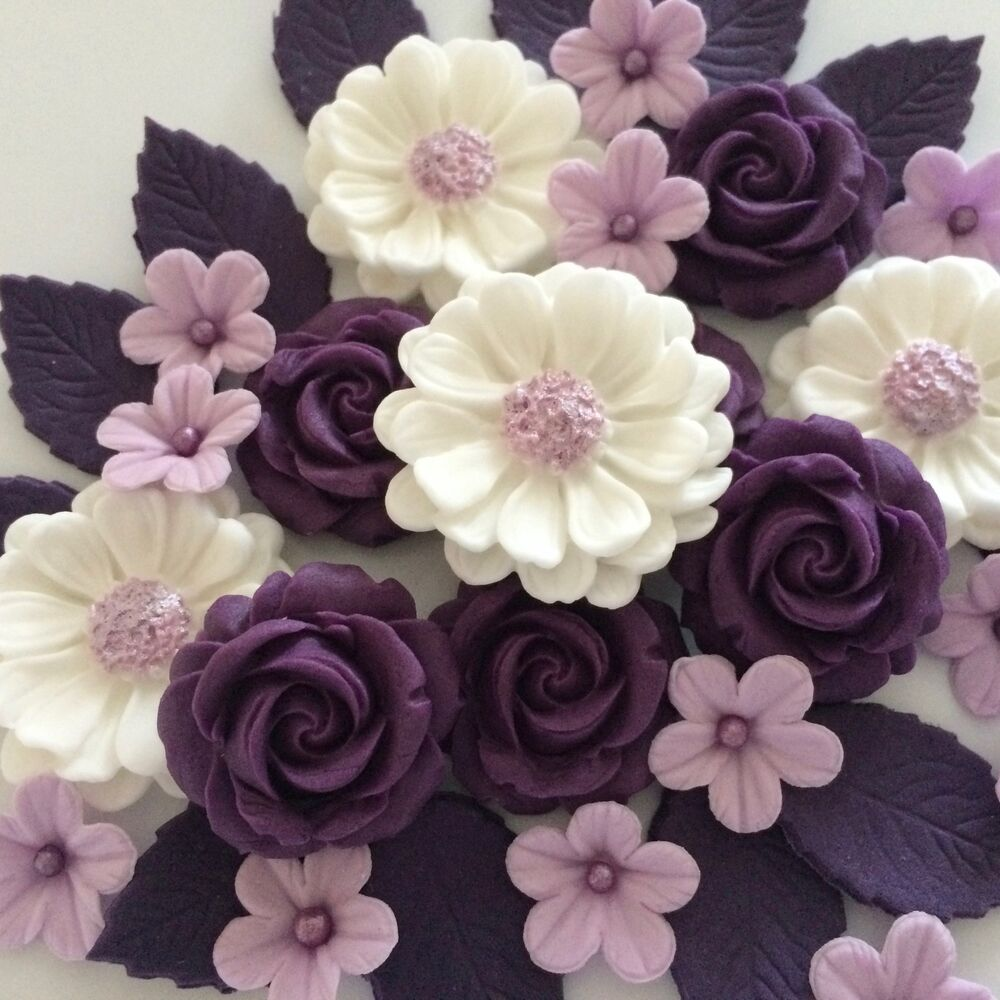 Cake Decorating Flowers Uk : PURPLE ROSE BOUQUET edible sugar paste flowers birthday ...