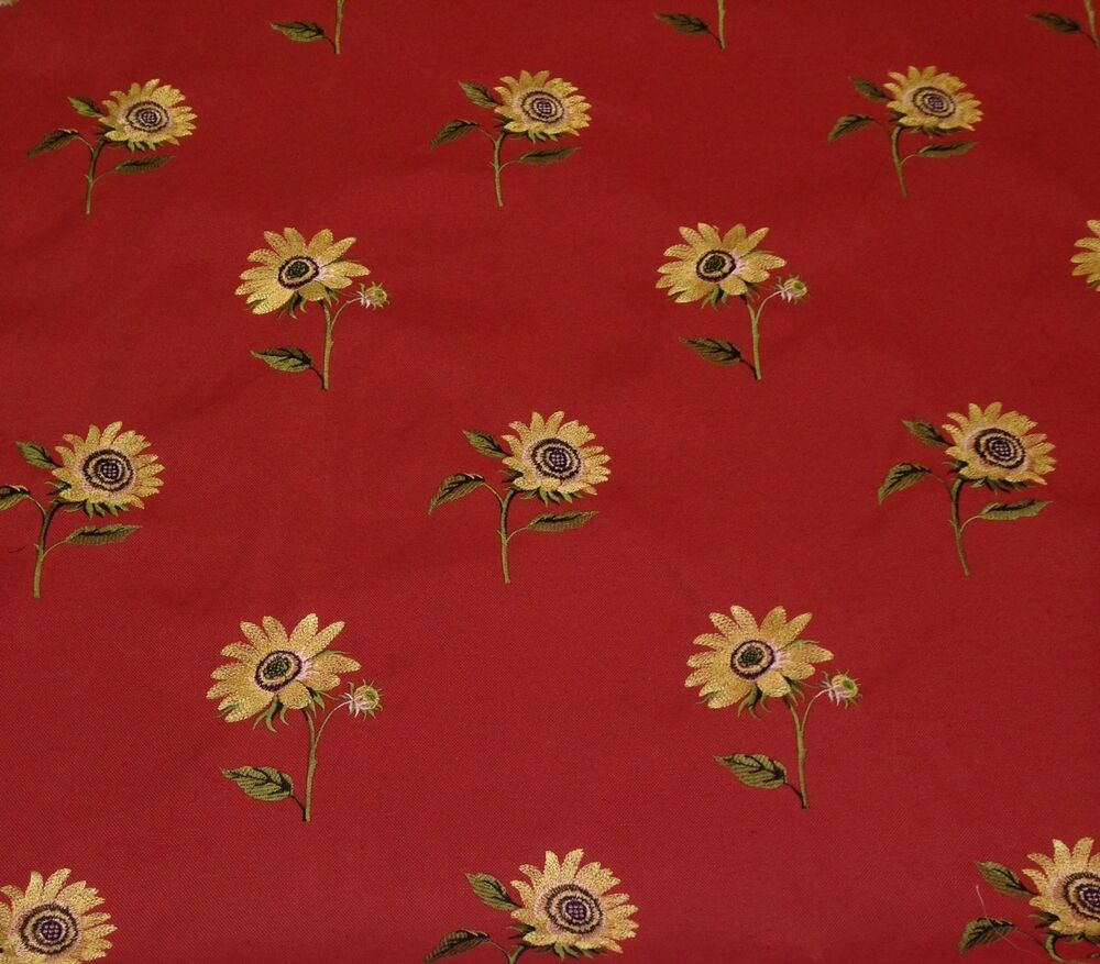 Waverly Sunshine Lava Red Floral Embroidered Fabric By The