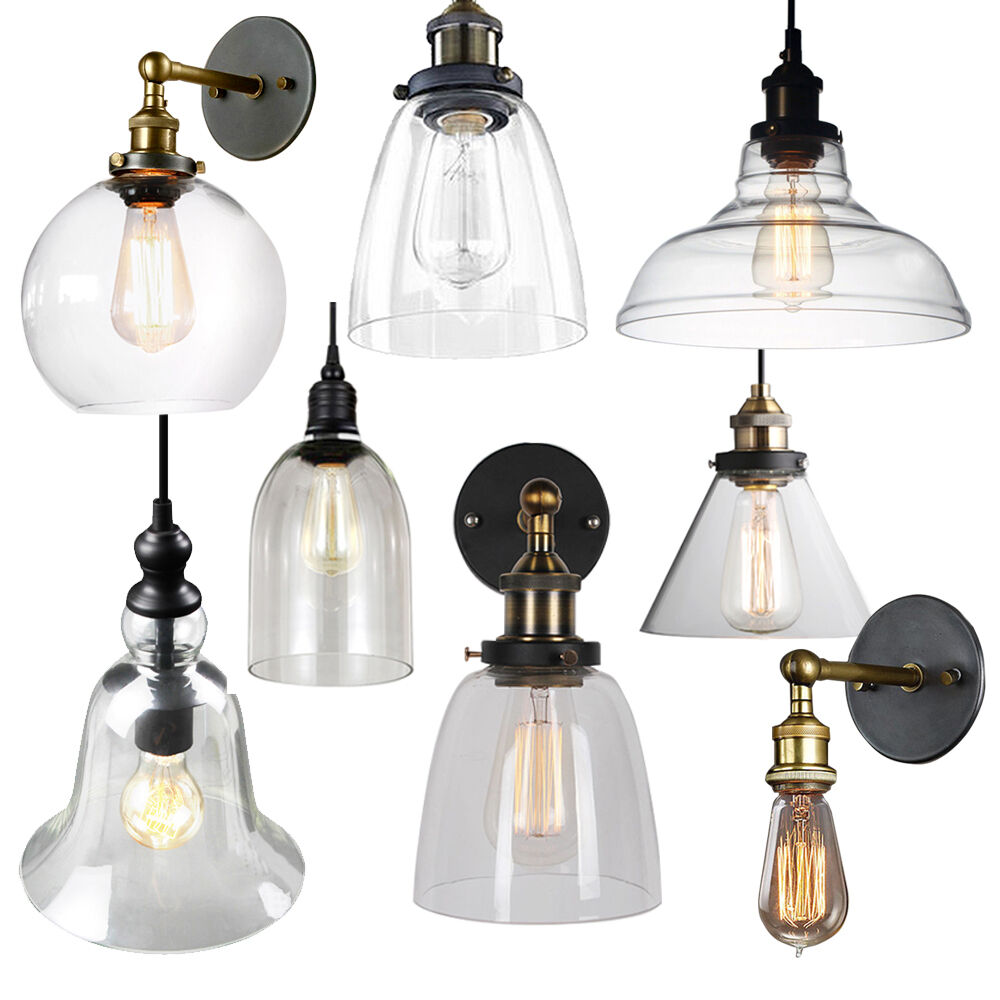 Bar Light Fixtures: Vintage Glass Lamp Shade Ceiling Light Pendant Wall Lamp