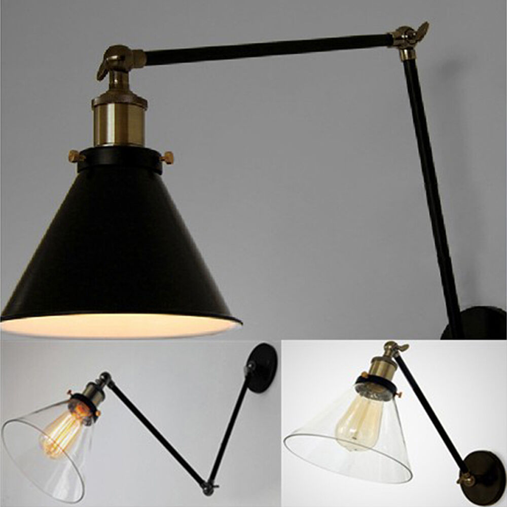 vintage industrial loft swing arm wall sconce retro office