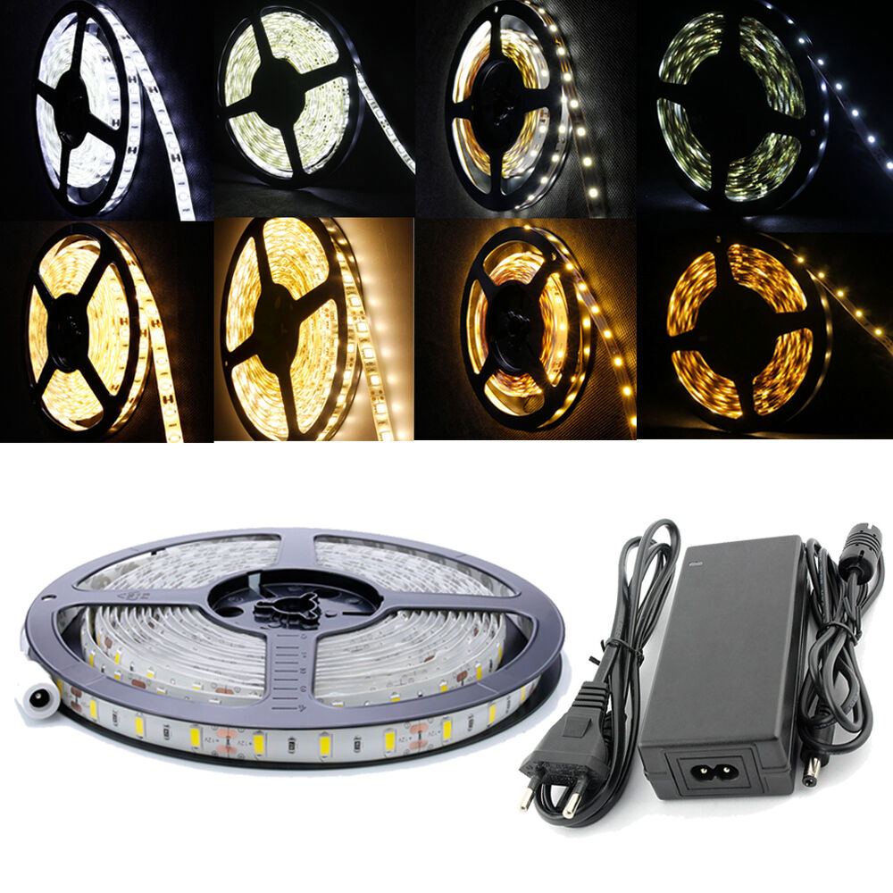 5m 30 60 120led m smd 5630 5050 2835 3528 led strip streifen leiste band trafo ebay. Black Bedroom Furniture Sets. Home Design Ideas