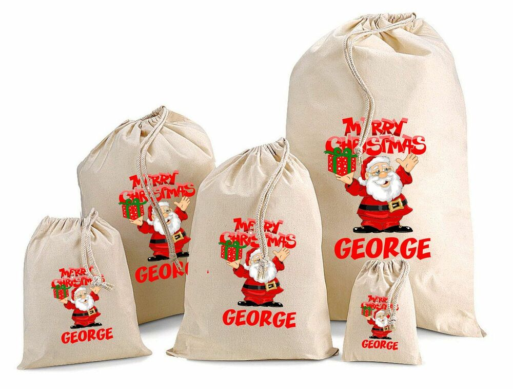 personalised father christmas cotton gift bag santa sack. Black Bedroom Furniture Sets. Home Design Ideas