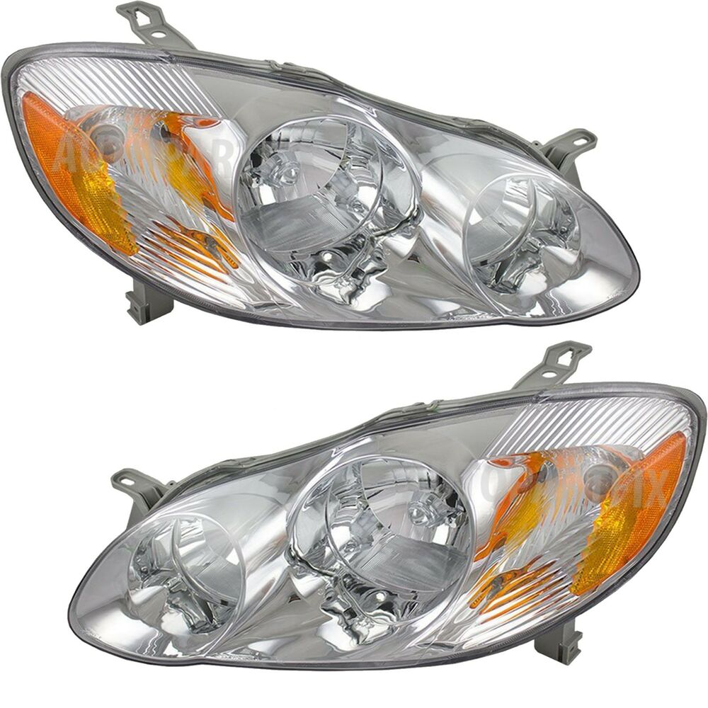03 04 Toyota Corolla New Pair Set: New 03-08 Pair Headlight Toyota Corolla Clear Amber Signal