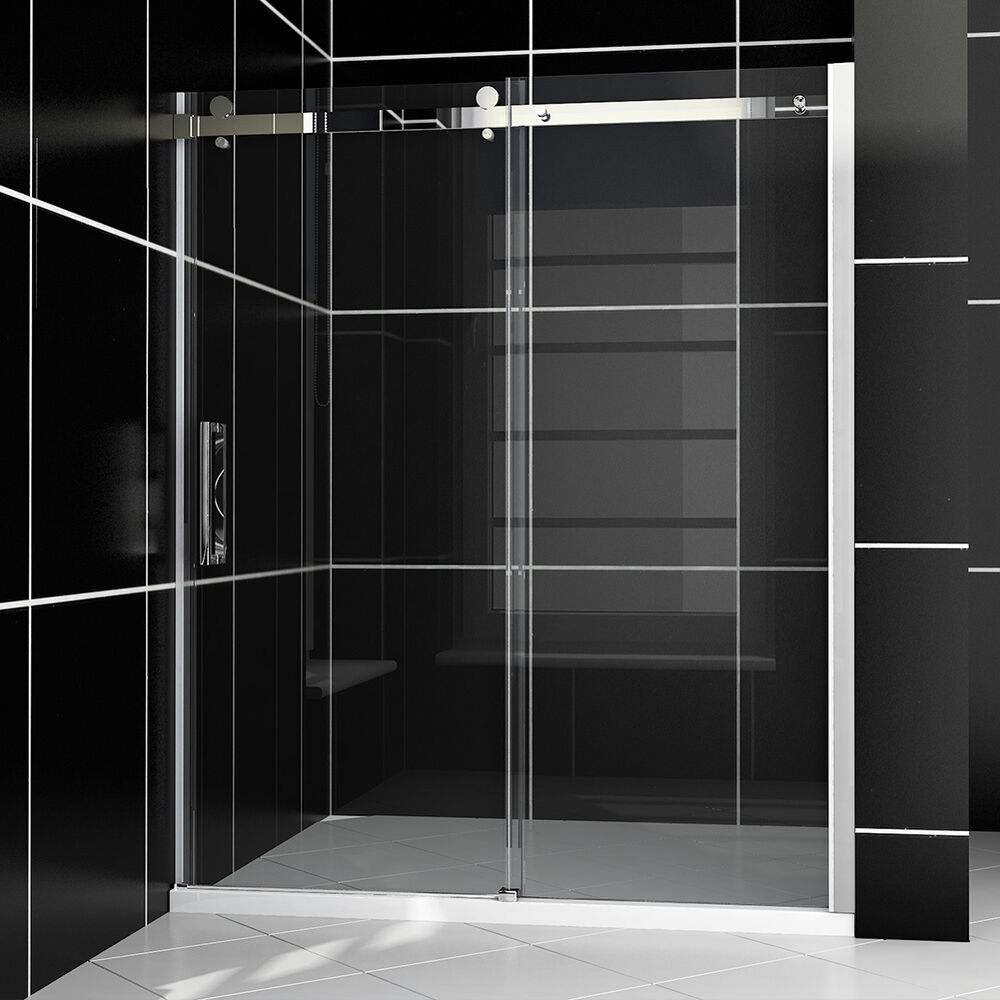 New art frameless sliding shower door 60 quot w x 72 quot h clear glass