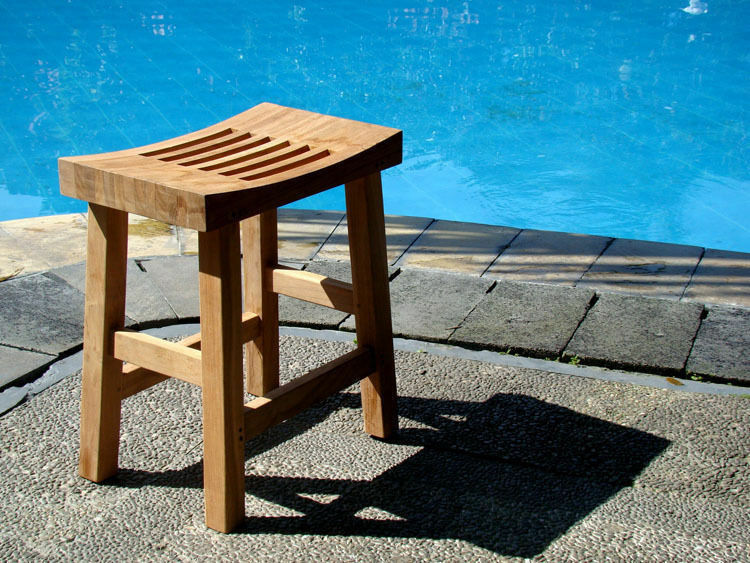 Grade A Teak Wood Curved Seat Shower Bath Spa Stool Bench