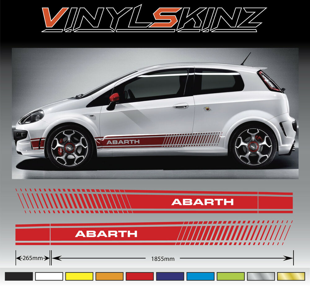 fiat punto abarth premium seitenstreifen aufkleber set 500 500c fiat ss uno ebay. Black Bedroom Furniture Sets. Home Design Ideas