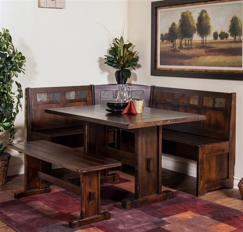 Sunny Designs 0230dc Santa Fe Breakfast Nook 4 Piece Dining Set With Side Bench Ebay