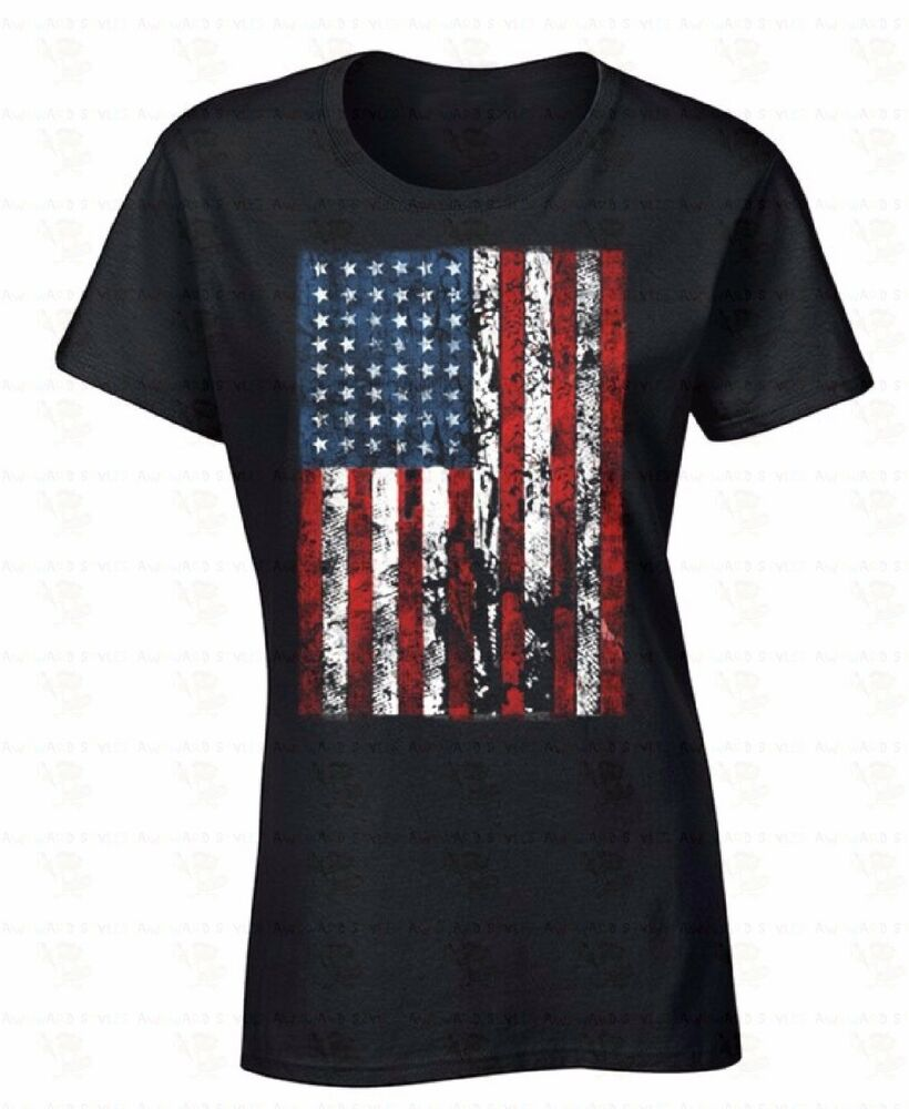 american flag distressed women t shirt 4th of july united