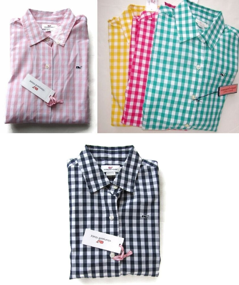 nwt vineyard vines women 39 s gingham shirt checked plaid sz