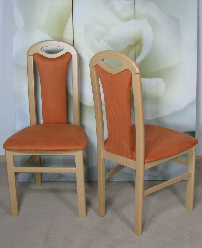 2 x stuhl esszimmer 2er set buche massiv natur terracotta esszimmerstuhl st hle ebay. Black Bedroom Furniture Sets. Home Design Ideas