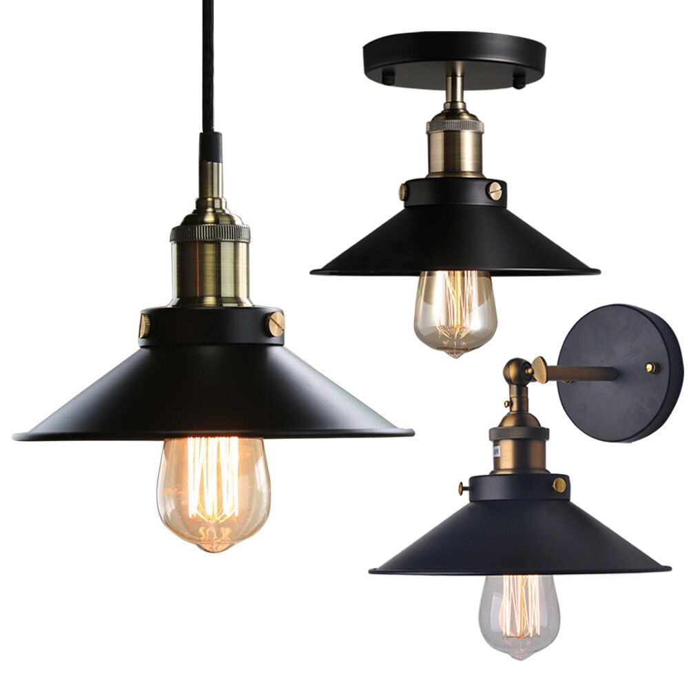 Wall Pendant Light: Industrial Factory Ceiling Light Pendant Wall Lamp Sconce