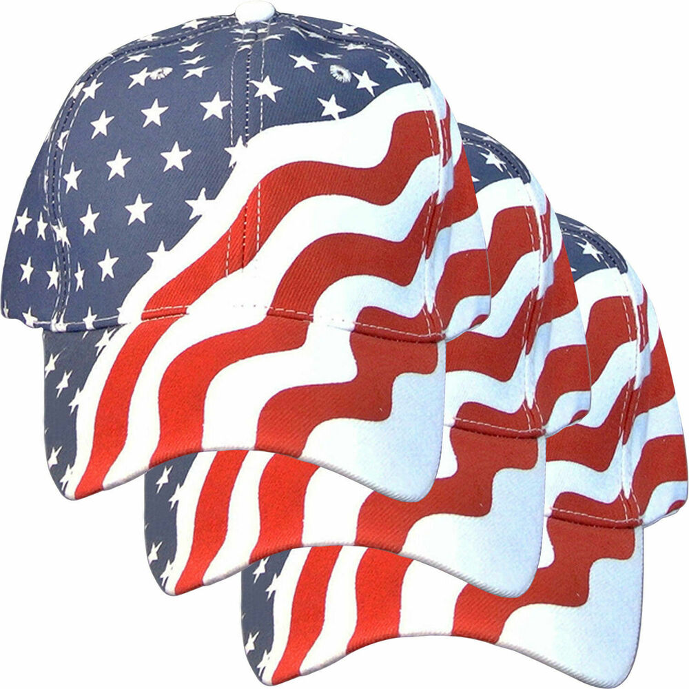 3 pk american flag cap hat us usa patriotic and