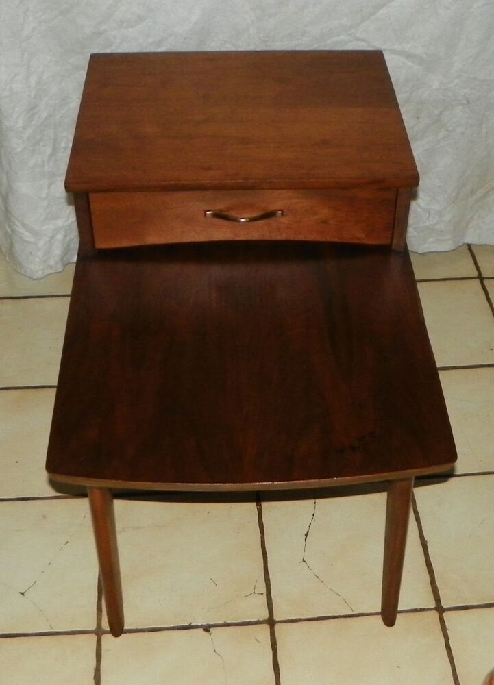 Walnut Mid Century Step End Table Side Table By Mersman