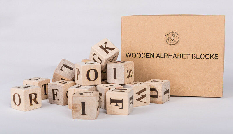 Wood Block Letters ~ Wooden blocks with letters full english alphabet handmade
