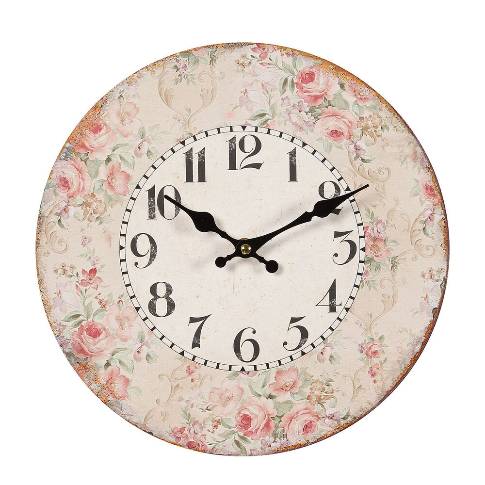 vintage wanduhr nostalgie uhr landhausstil roses rosen shabby chic neu ebay. Black Bedroom Furniture Sets. Home Design Ideas